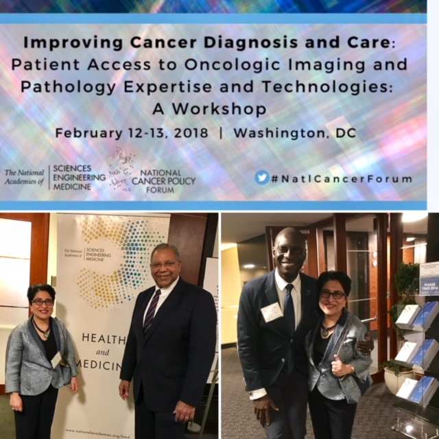 Dr Ritu Nayar, Trustee American Board of Pathology, with Dr Otis Brawley, Chief Scientific and Medical Officer/ EVP of the American Cancer Society (Left) and Dr Kojo Elenitoba-Johnson, Director for Personalized Diagnostics at Univ of Pennsylvania (Right).